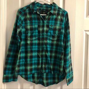 Hurley Green Flannel Shirt Women's M